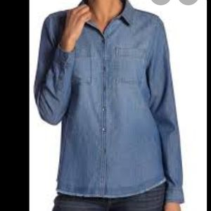 Melrose and Market button blouse Chambray S blue